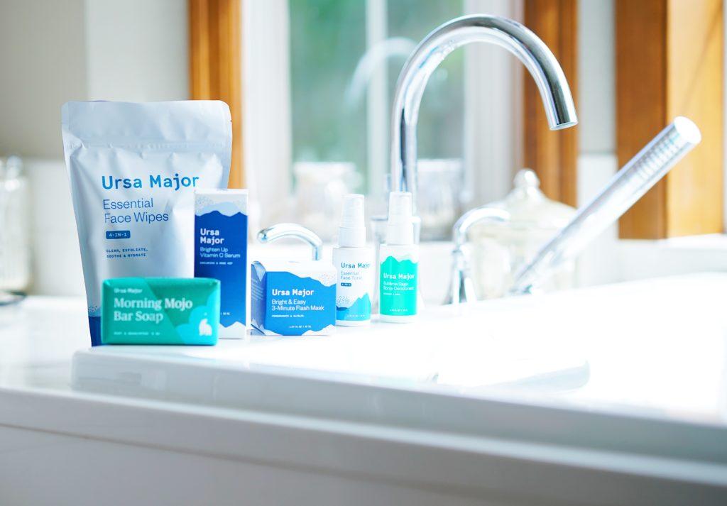 beauty products on bathtub