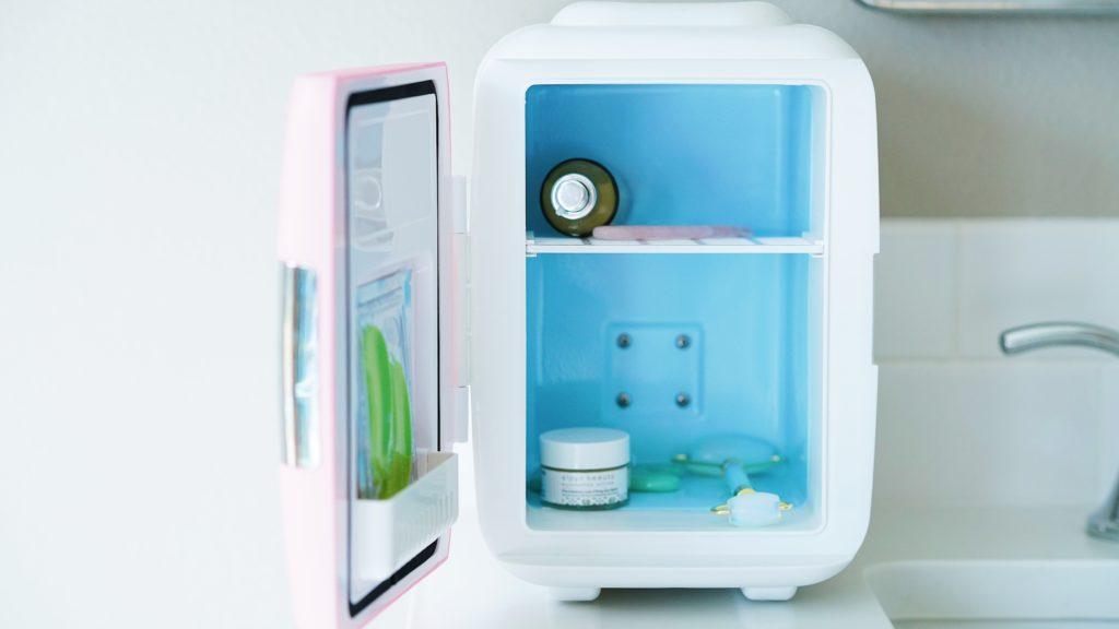 mini skincare fridge on counter